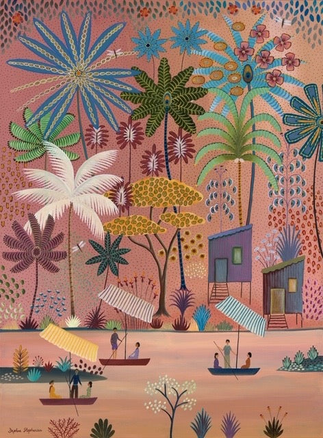 Daphne Stephenson 'Pink Jungle River' unframed limited edition print 120x90cms