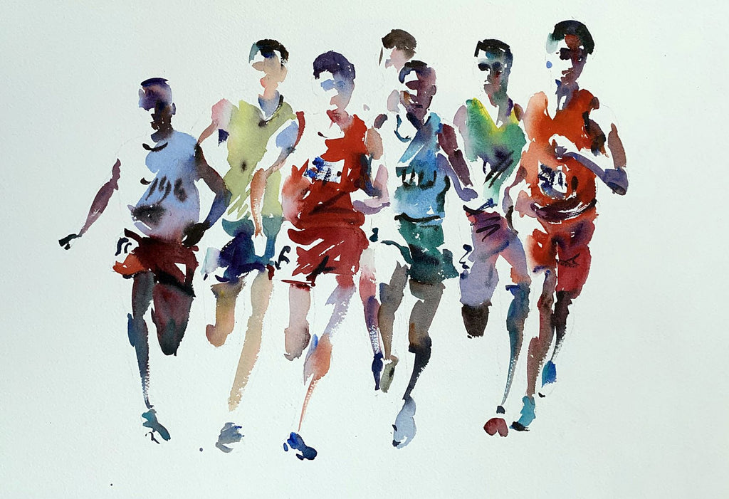 Watercolour study of runners in multi-colours by Jake Winkle at Iona House Gallery