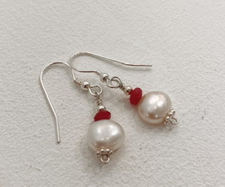Sandra Pennell 'Earrings' Pink quartz & fresh water pearl