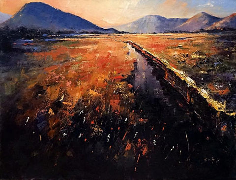 Seumas MacFarlane 'Ablaze near Clifden, Connemara, Co Galway' oil on canvas 61x76cms