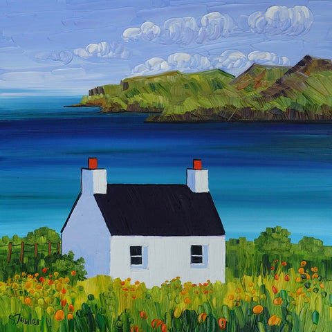 Sheila Fowler 'Cottage at Calgary Bay, Mull' oil on canvas 30x30cm