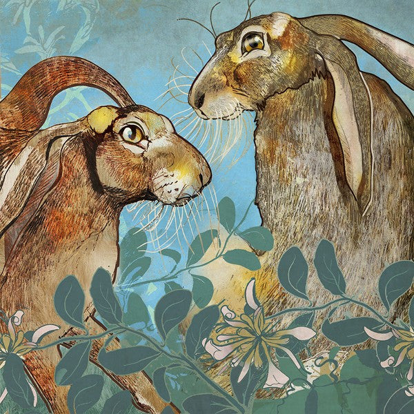 Shelly Perkins 'Hares in the Honeysuckle' limited edition digital collage 30x30cm (unframed size)