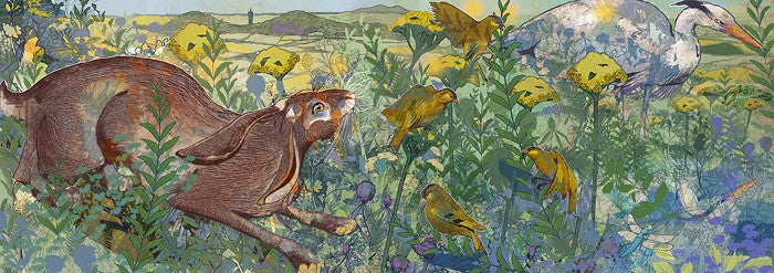 Shelly Perkins 'Worcestershire Wildlife Pond' limited edition digital collage 30x84cm (unframed size)