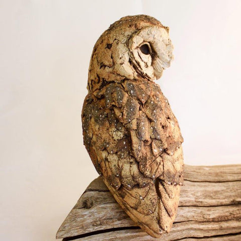 Simon Griffiths ' Barn Owl' on reclaimed wood H35 x W35 cms