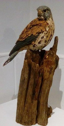 Simon Griffiths 'Kestrel' wood and ceramic 47x25cms