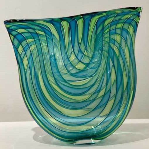 Bob Crooks: 'Pi Vase' glass H35cm W33cm D6cm