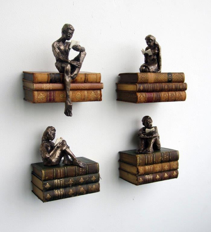 Steve Yeates 'A Midsummer Night's Dream Characters' cold cast bronze on wall mounted leather bound books edition of 25