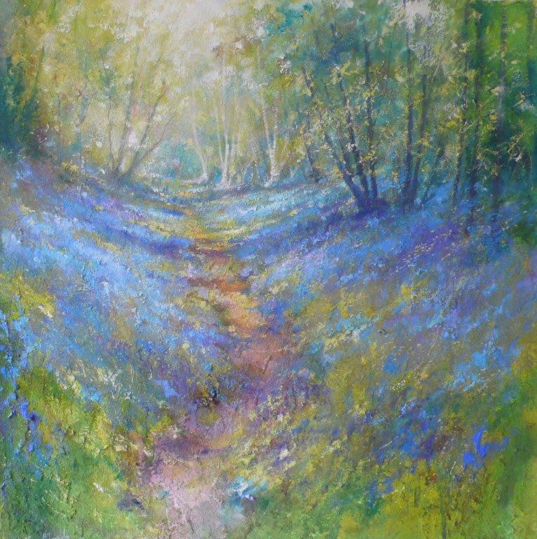 Steven McLoughlin 'Footpath through the Bluebells' 61x61cm mixed media on canvas