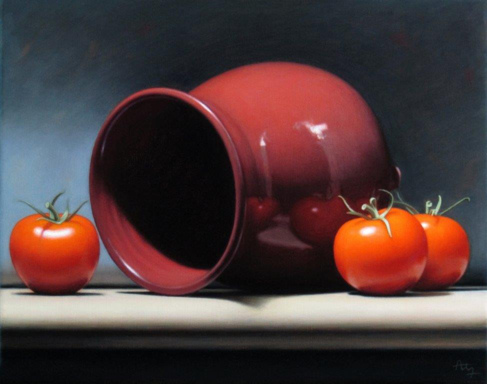 Anthony Ellis 'Still Life with Red Bowl and Tomatoes' oil on canvas 30x24cm