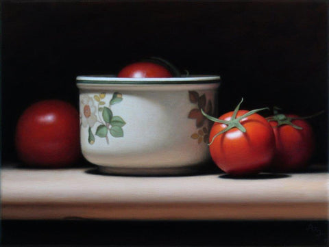 Anthony Ellis 'Still Life with Tomatoes and Patterned Bowl' oil on canvas 24x18cm