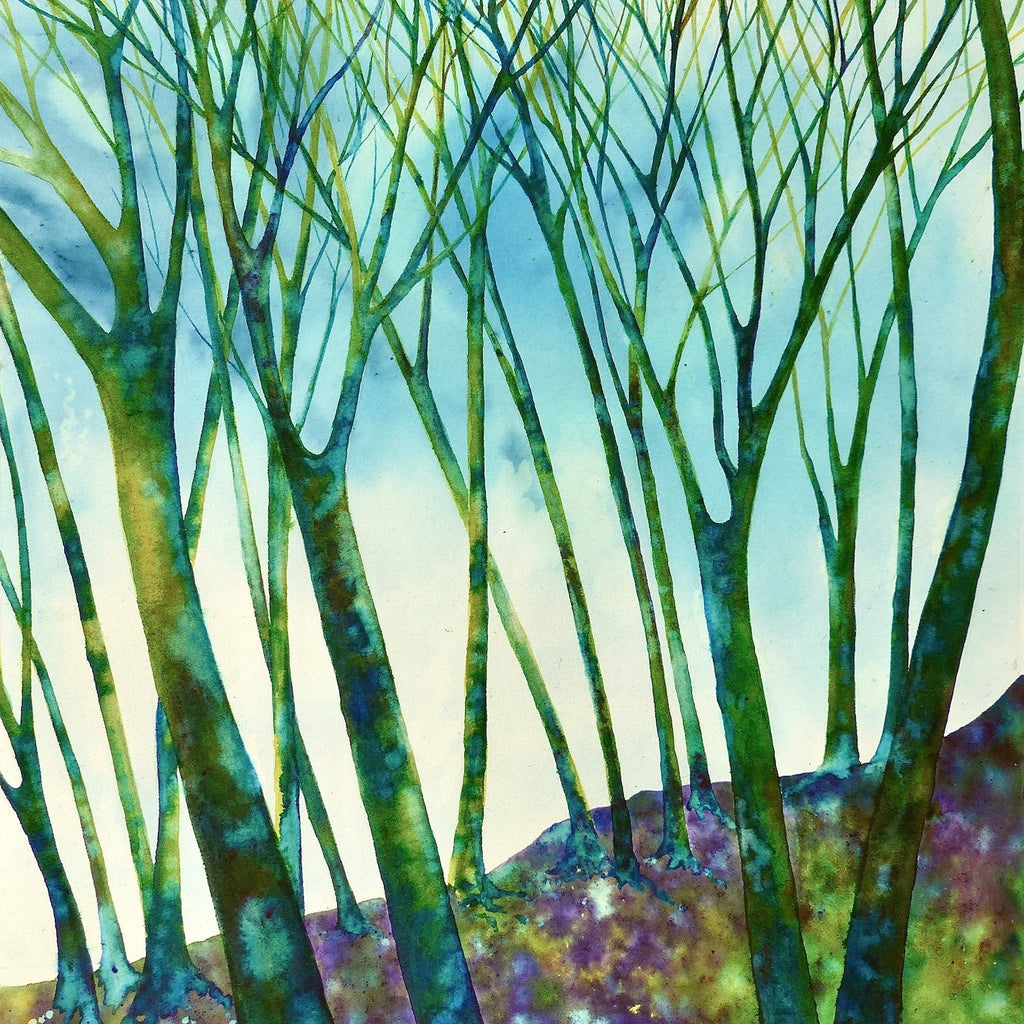 Green trees by Sue Side at Iona House Gallery