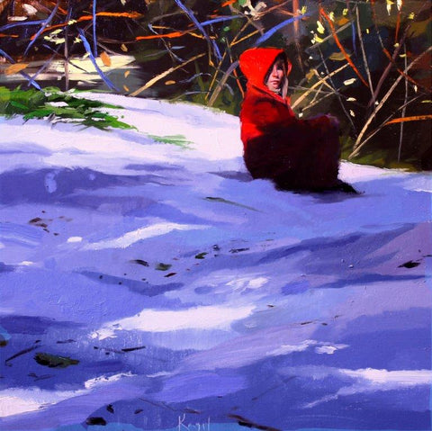Susana Ragel 'Red Coat in the Snow' oil on board 40x40cm