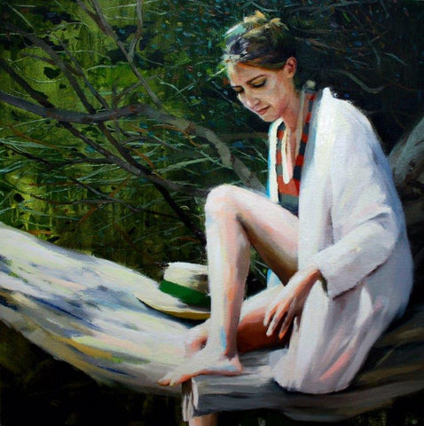 Susana Ragel 'Spring' oil on canvas 40x40cm