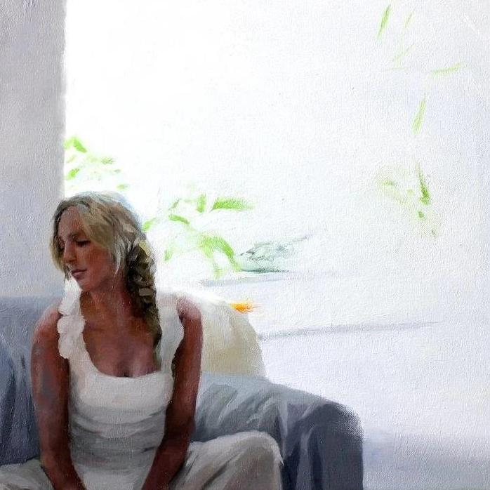 Susana Ragel 'Woman in White' oil on board 40x40cm