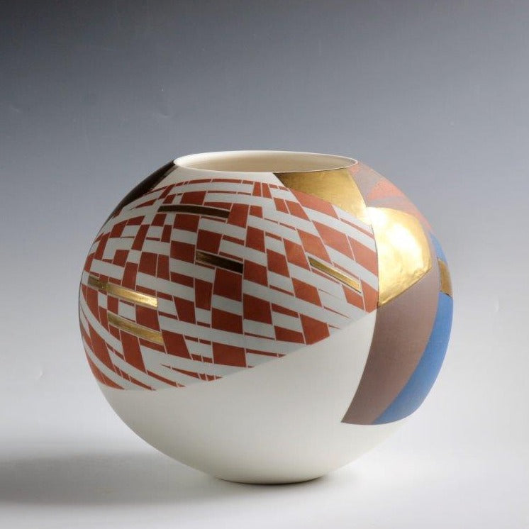 Tony Laverick 'Round Vessel decorated in orange, blue and gold' Porcelain