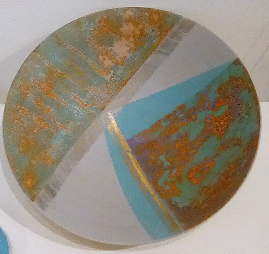 Tony Laverick 'Turquoise shallow bowl' ceramic 35.5cms diameter