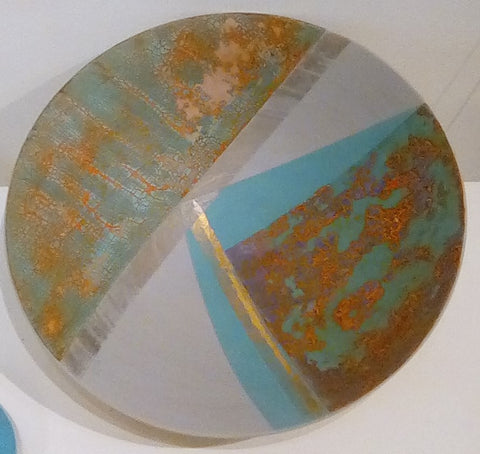 Tony Laverick 'Turquoise shallow bowl' ceramic 35.5cm diameter