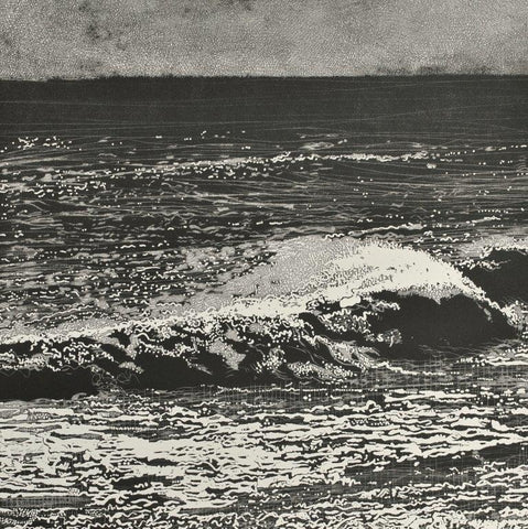 Trevor Price 'Storm Waves IV' drypoint and engraved relief print - paper and image size 35.5x35.5cm
