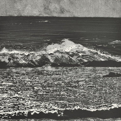 Trevor Price 'Storm Waves VI' drypoint and engraved relief print - paper and image size 35.5x35.5cm