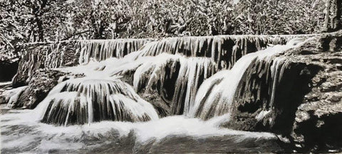 Trevor Price 'Waterfall' watercolour on paper 48x102cm