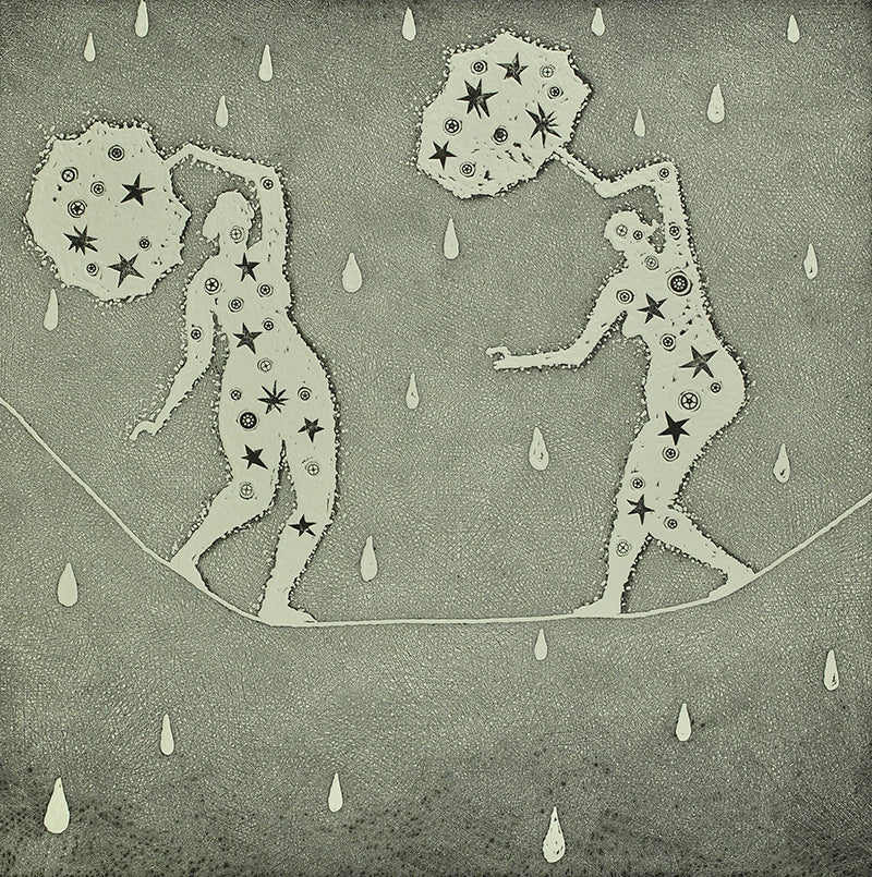 Trevor Price 'High Wire Rain Shower' limited edition etching 34x34cm