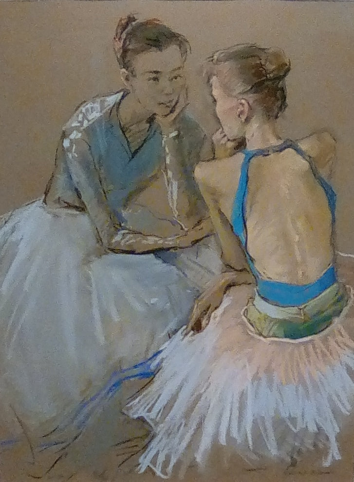 Valeriy Gridnev 'Conversation' pastel on paper 48x63cms original artwork