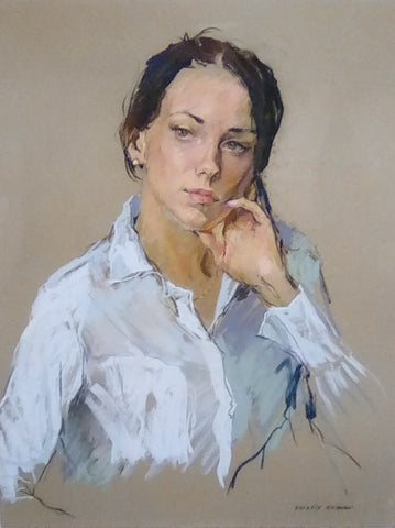 Valeriy Gridnev 'Reflection' pastel on paper 48x63cms
