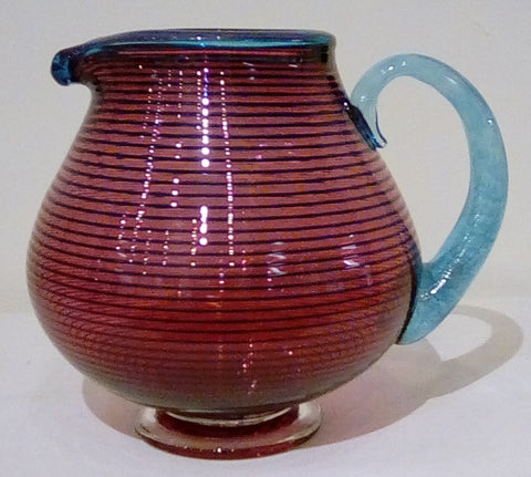 Bob Crooks 'Large Round Venetian Jug' glass H21cms xL 26cms x W 18cms approx