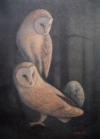 Vyacheslav Sinkevich 'Barn Owls and Egg' mixed media 82x60cm