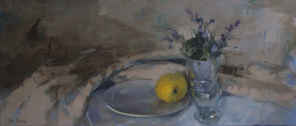 Yara Damián 'Reflections over the table' Oil on linen 38x89cm