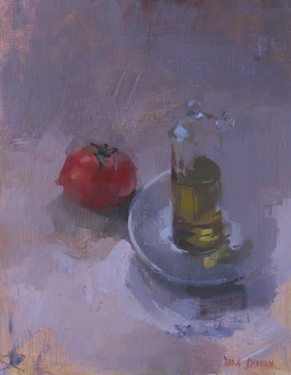 Yara Damián 'Mediterranean Cuisine' oil on panel 45x38cms