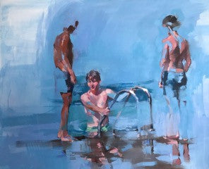 Yara Damián 'Steps down to the water' 81 x 100cm oil on linen