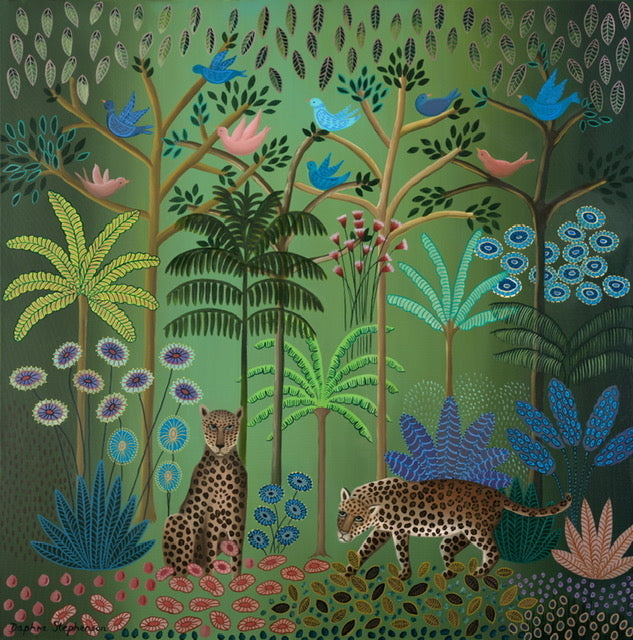 leopards jungle print by Daphne Stephenson at Iona House Gallery