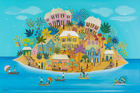 Island scene in naive style in bright colours by Daphne Stephenson at Iona House Gallery