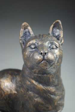 bronze resin cat sculpture by April Young at Iona House Gallery