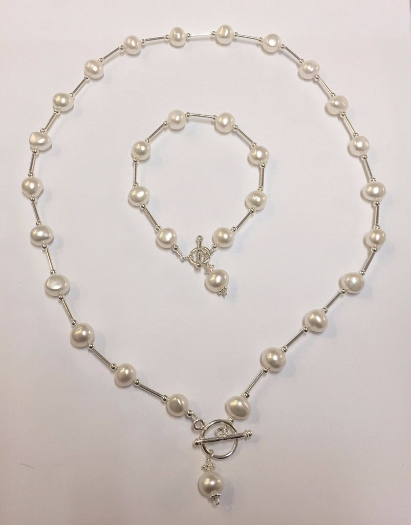 Pearl and silver bar necklace
