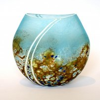 Martin Andrews 'Medium Flat Beach vase' glass H 16cms