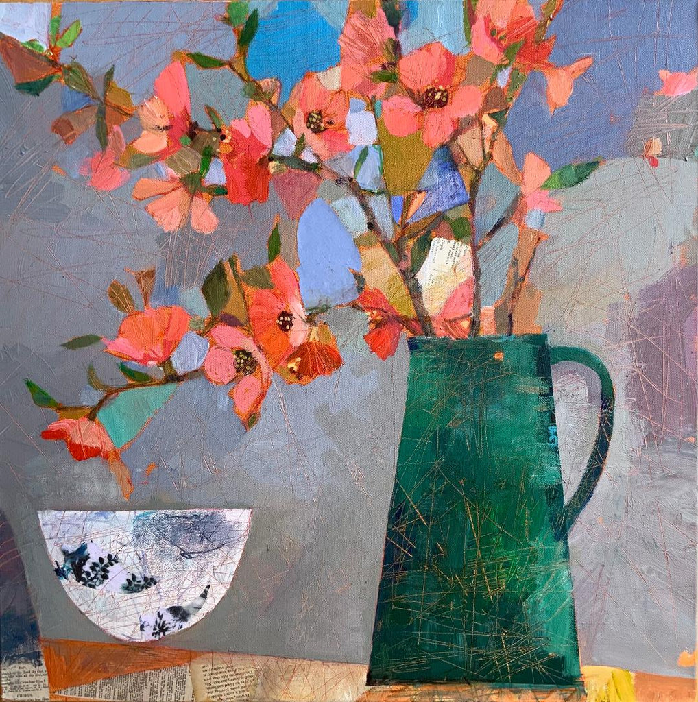 Still life of vase and flowers by Sally Anne Fitter at Iona House Gallery