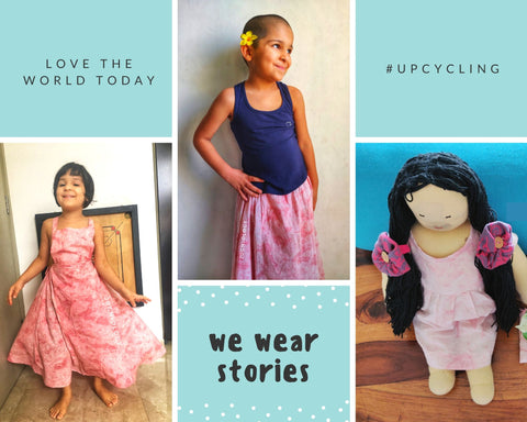 Upcycling and repurposing a little girl's dress into her doll's dress