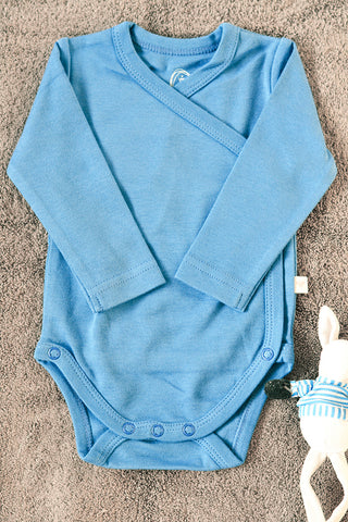 Blue unisex full sleeve kimono onesie in organic cotton