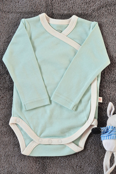 Mint Blue unisex full sleeve kimono onesie in organic cotton