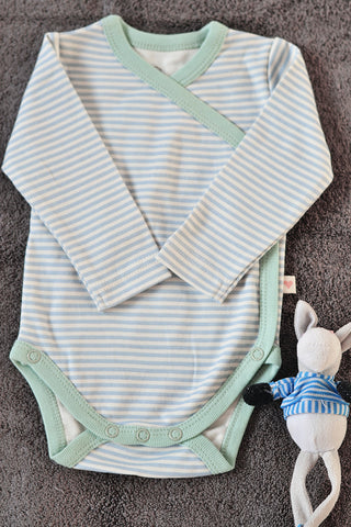 Mint blue striped unisex full sleeve kimono onesie in organic cotton