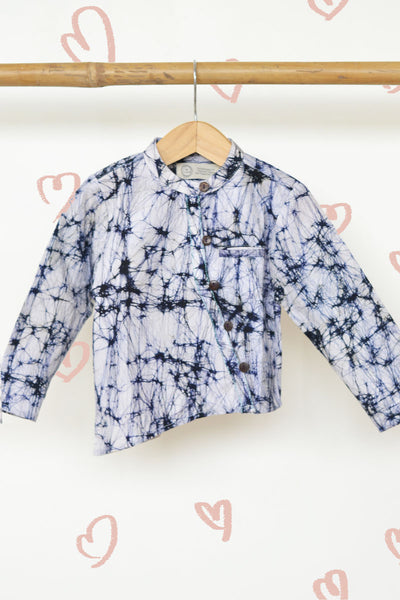 'Leave a Trail' - Chinese Collar Hand Dyed Shirt with a twist