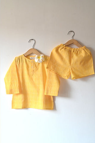 'Sleepover Party' Kurta and Shorts Coord Set in Yellow Checks