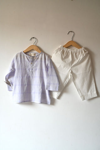 'I want to be like Grandpa' Kurta Pyjama set in Lavender Checks