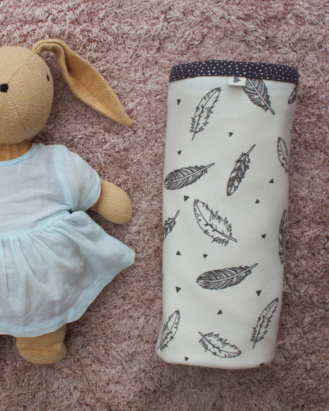 Dark Grey 'Feather' unisex receiving blanket in organic cotton
