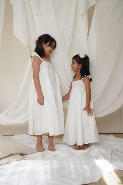 'With Magic in your Heart' Maxi Dress in Sheer White with Butterfly Sleeves
