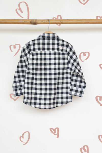 'Barefoot Boy' - Classic Chinese Collar Shirt in Handwoven Cotton Black and White Checks