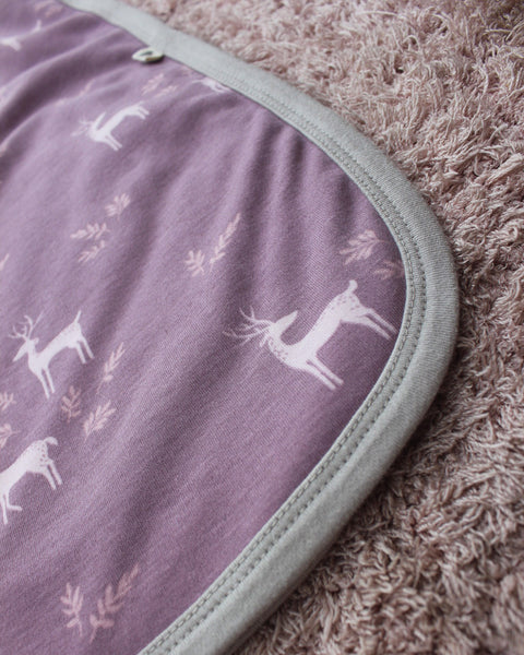 Lilac 'Deer' unisex receiving blanket in organic cotton