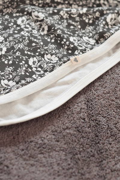 Dark Grey 'Floral' unisex receiving blanket in organic cotton
